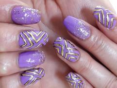 Lilac Gelish Over Acrylics