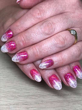 Polygel with Glitter Fade Design