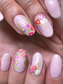 Natural Nails with Handpainted Gel flowers
