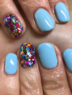 Lovely pastel blue witha glitter accent nail