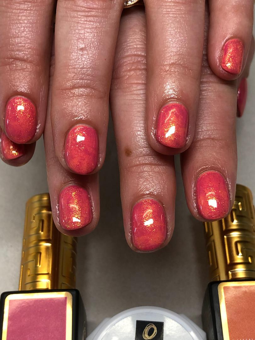 Prima Gel polish marble design over natural nails