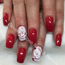 Acrylic nails with 3D sculpted flowers