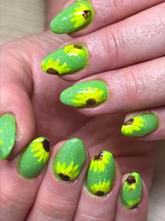 Polygel gel overlays with hand painted art