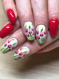 Acrylic nails with hand Painted Tulips