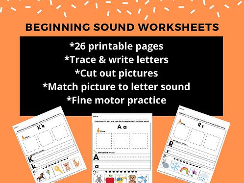 Beginning Sound Worksheets, Preschool Kindergarten