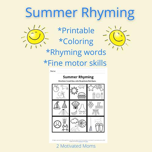 Summer Rhyming FREEBIE
