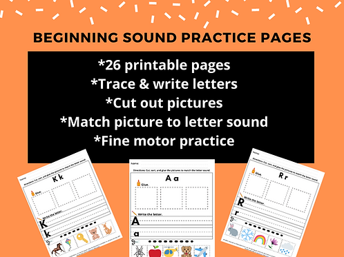 Beginning Sound Practice Pages