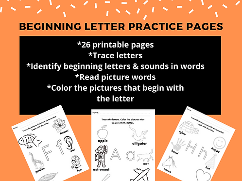 Beginning Letter Practice Pages