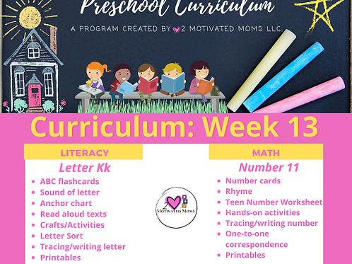 PreK-4 Week 13 Preschool Curriculum