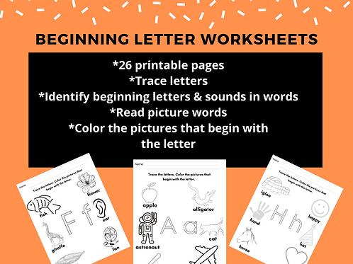 Beginning Letter Worksheets, Preschool Kindergarten