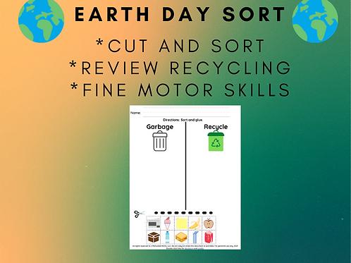 Earth Day Sort Free, Preschool, Kindergarten