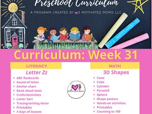 PreK-4 Week 31 Preschool Curriculum