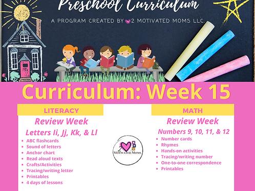 PreK-4 Week 15 Preschool Curriculum