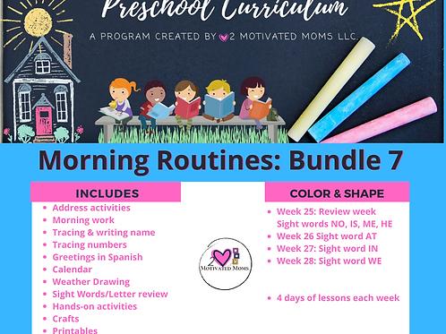 PreK-4 Morning Routines Bundle 7 Preschool Curriculum