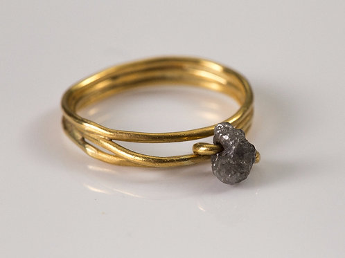 Gold Ring with Linked Raw Diamond