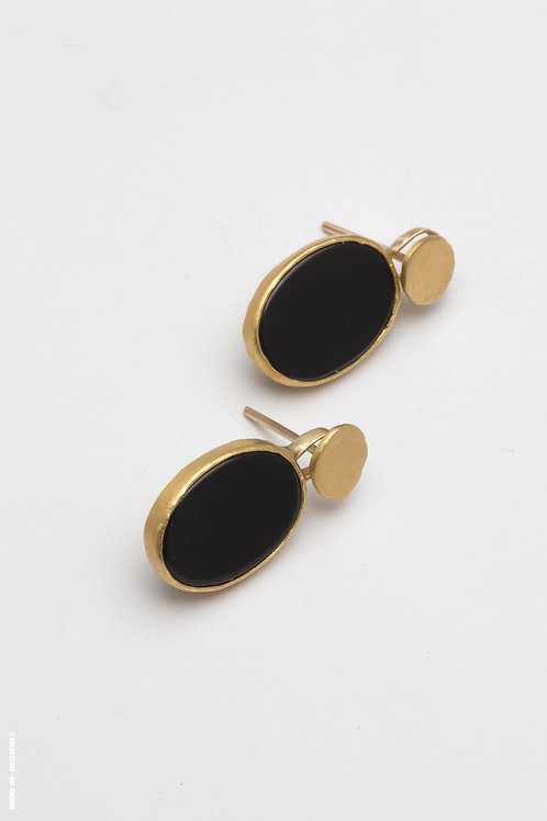 Gold & Onyx Earrings