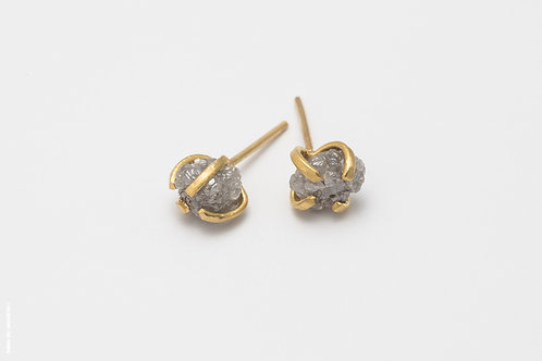 Gold & Raw Diamond Earrings