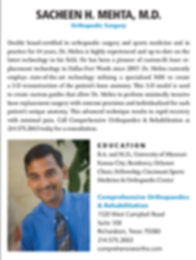 D Magazie Best Doctor Sacheen H. Mehta, Board-Certified Orthopaedic Surgeon and Sports Medicine Specialist at Comprehensive Orthopaedics & Rehabilitaion in Richardson, Texas