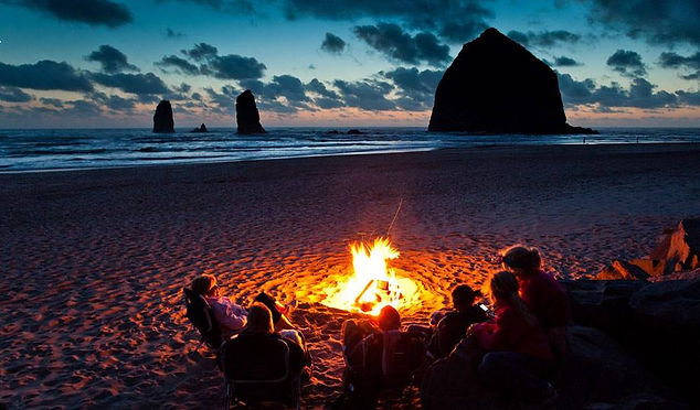 Beach retreat campfire