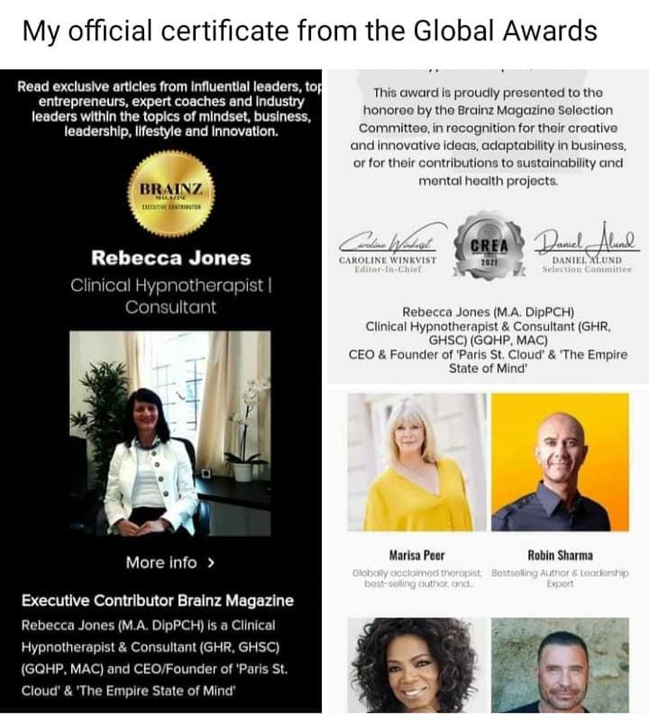 Clinical Hypnotherapy | Crea Global Award Winner | Rebecca Jones | Harley Street Therapy Clinic | London | Deansgate Manchester | Global | Oprah Winfrey | Paul McKenna | Dr. Richard Bandler | Rebecca Jones
