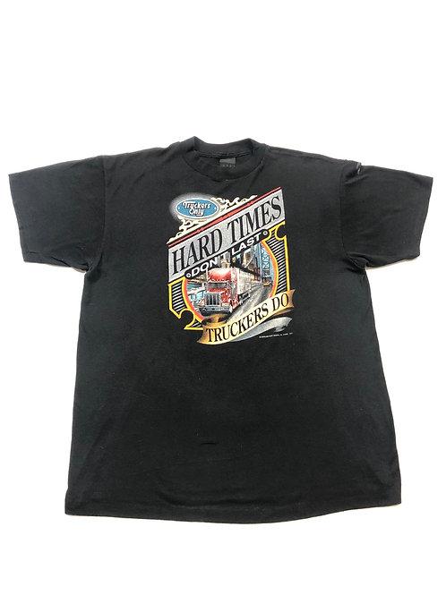 "Vintage 3D Emblem Hard Times"" Tee Single Stitch"