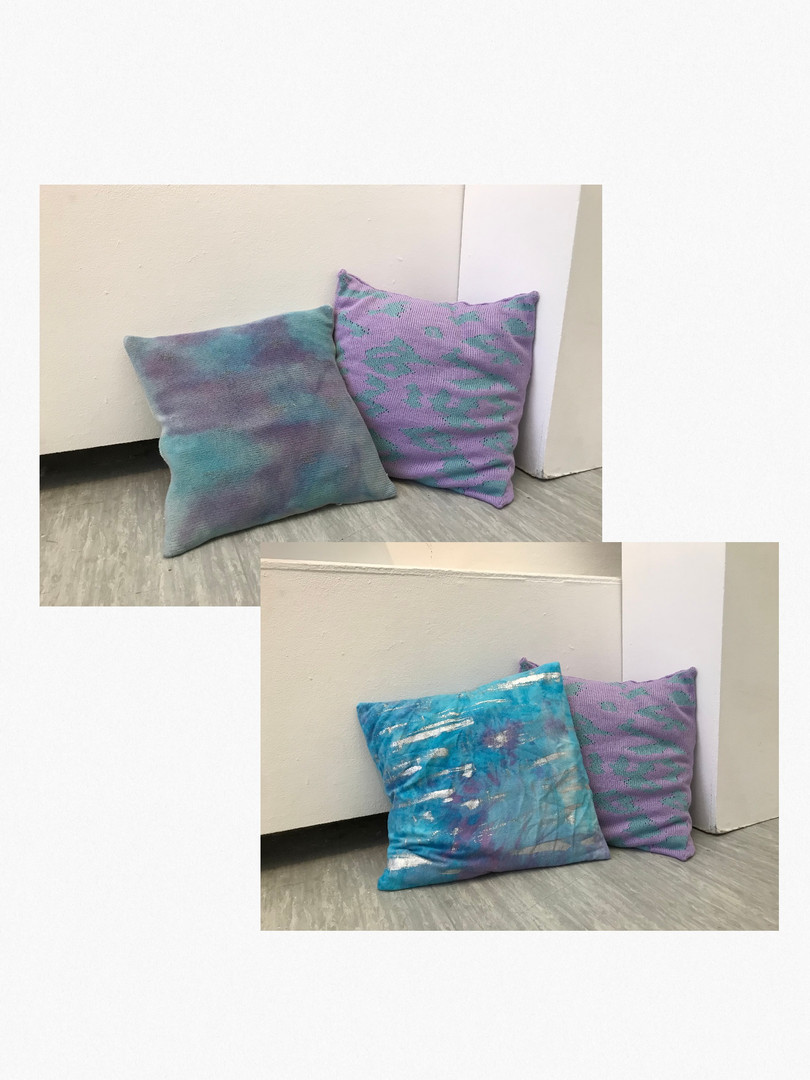 Handprinted and knitted cushion covers