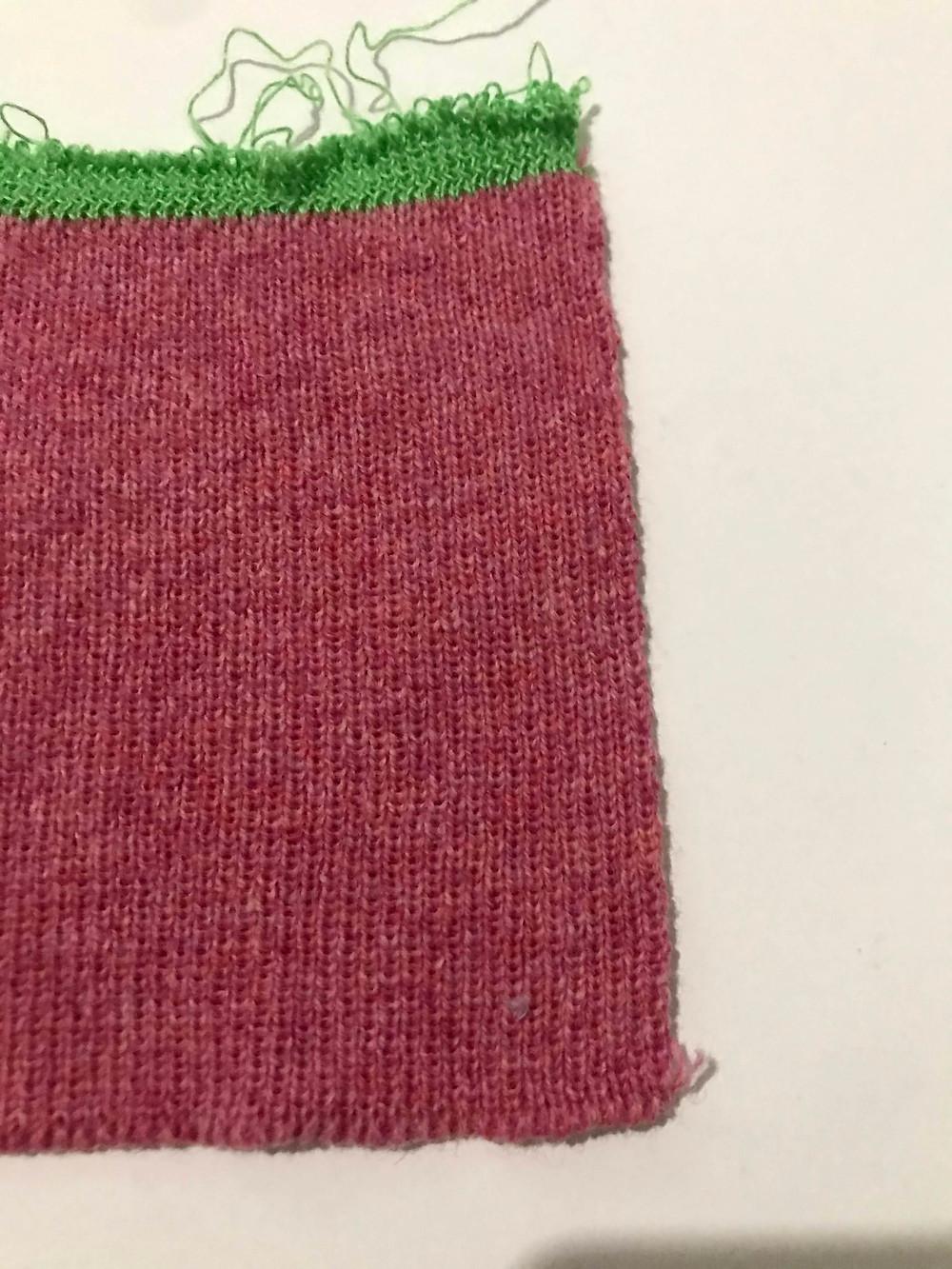 Lambswool, Pink, plain knit on 7 gauge.
