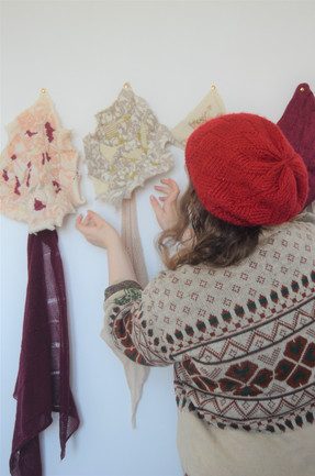 me hanging my final textile collection