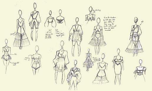 sketches exploring undergarment ideas