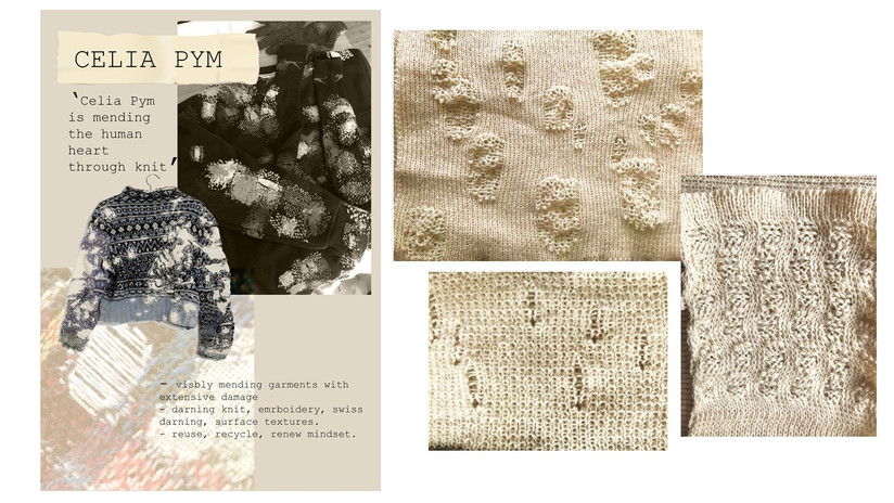 celia pym, knit samples looking into damaged structures