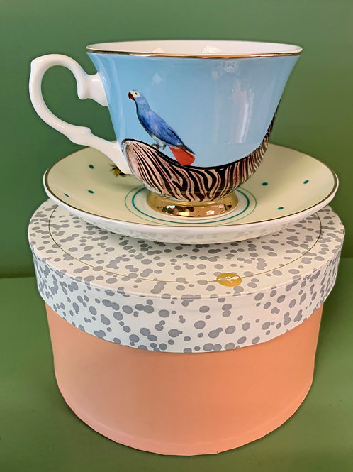 Zebra and Parrot Tea Cup and Saucer