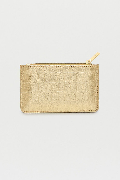 Estella Bartlett - Rectangle Card Purse Metallic - Gold Croc Embossed