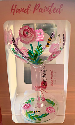 Hand painted Roses Gin glass