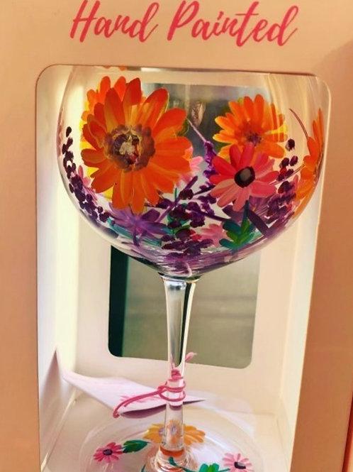 Hand painted Dahlias Gin glass