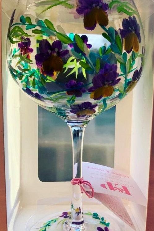 Hand painted Cornflowers Gin glass