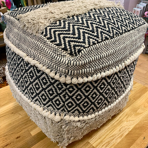 Cream and black embroidered pouffe