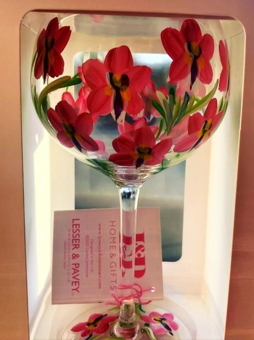 Hand painted Orchids Gin glass
