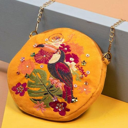 Velvet embroidered Toucan Bag by Powder