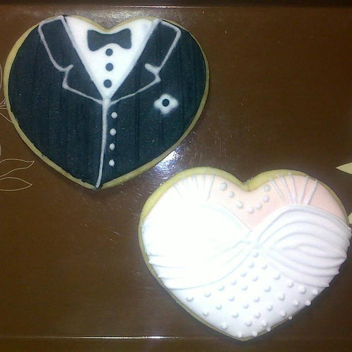 Wedding Tuxedo and Bridal Gown Cookies