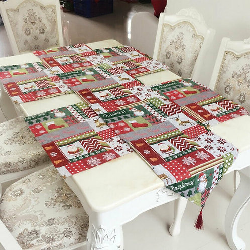 Christmas formal Table Runners and Place Mats Embroidered Polyester/Cotton.