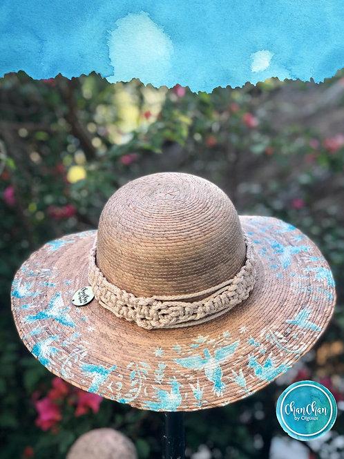 Sombrero de Paja. PINTADO TURQUESA