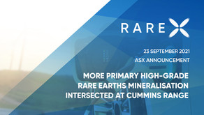 MORE PRIMARY HIGH-GRADE RARE EARTHS MINERALISATION INTERSECTED AT CUMMINS RANGE