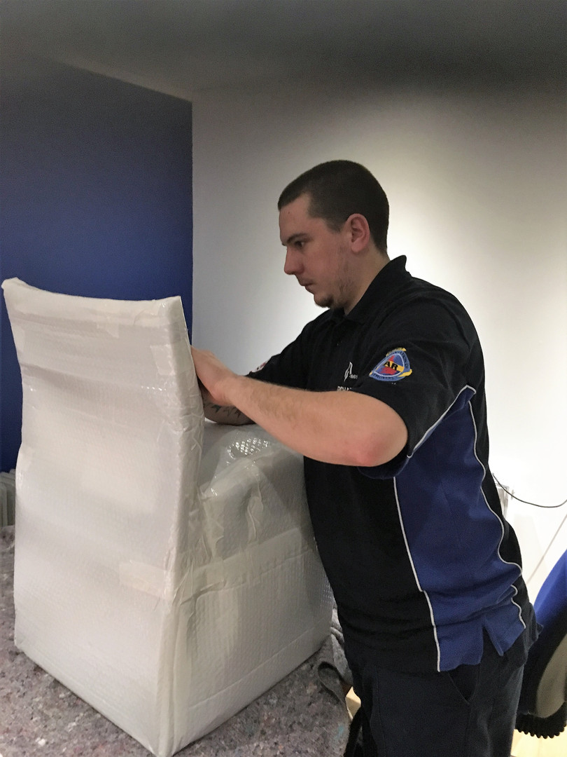 Chair being overseas wrapped