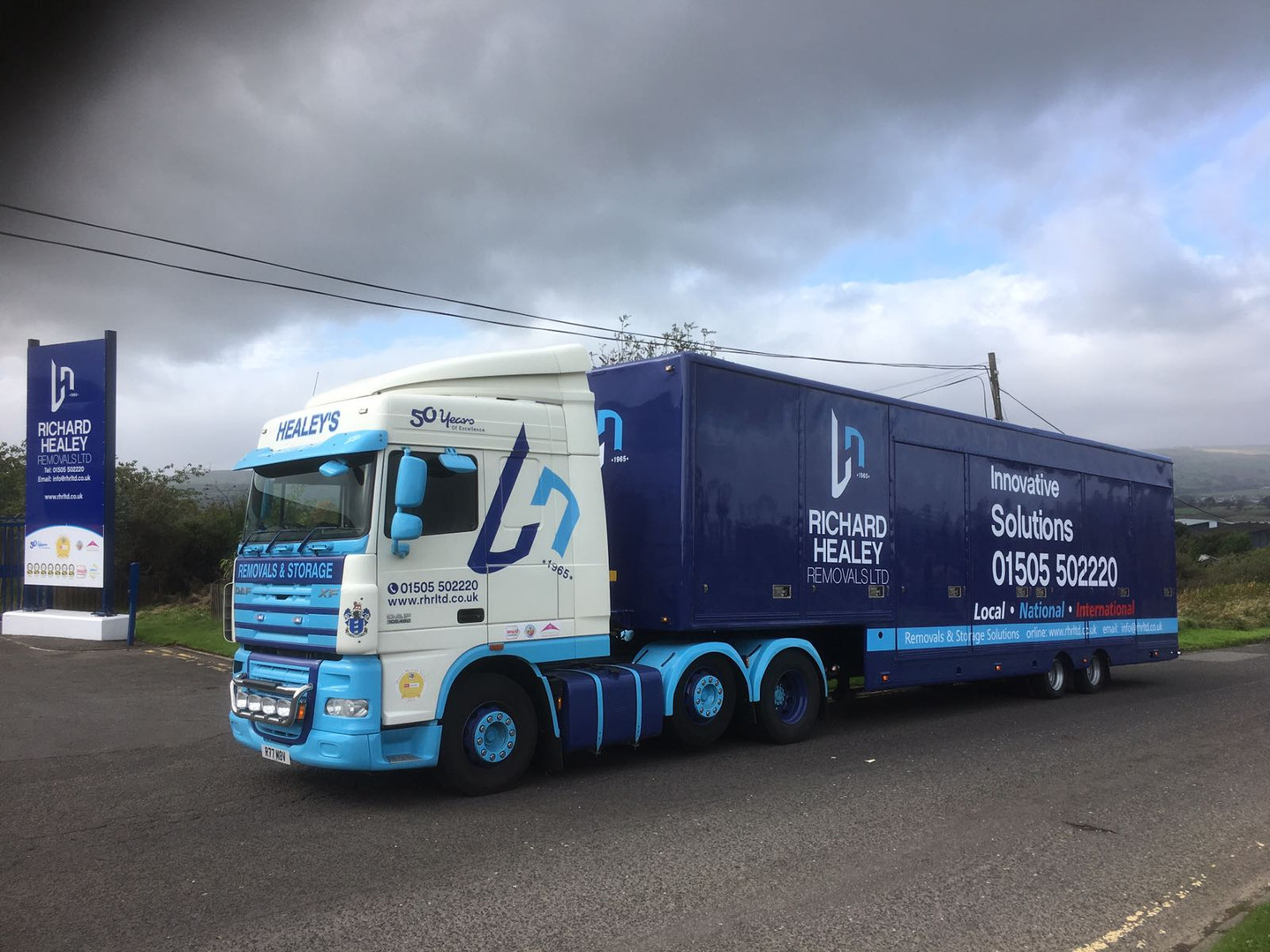 Articulated lorry and trailer leaving from Beith