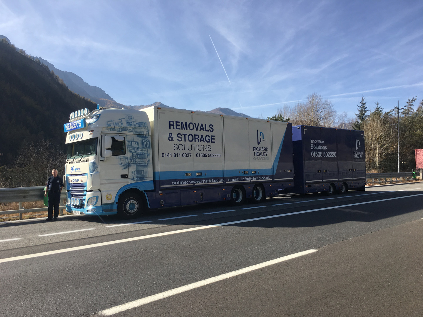 DAF truck and trailer parked in Italy