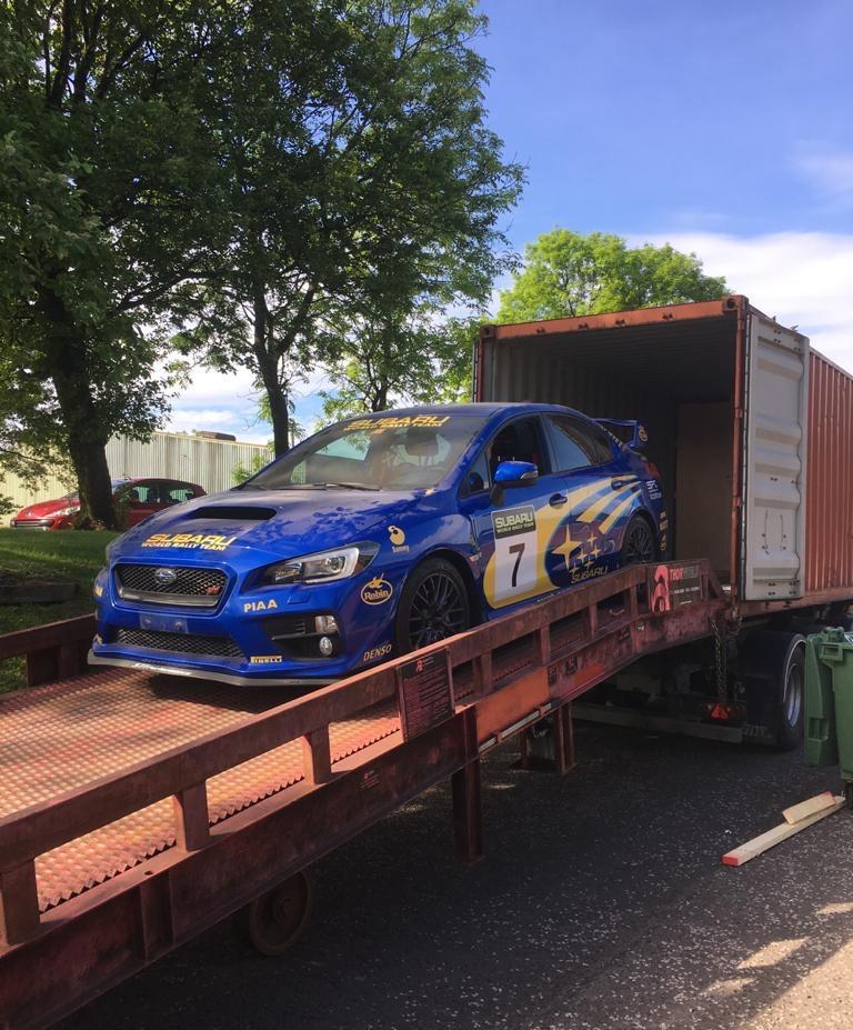 Subaru Impreza Sti unload from Dubai 20ft Container