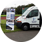 Pollok Minibus & Banner sponsored by Richard Healey Removals