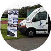 Pollok Minibus & Banner sponsored by Richard Healey Removals