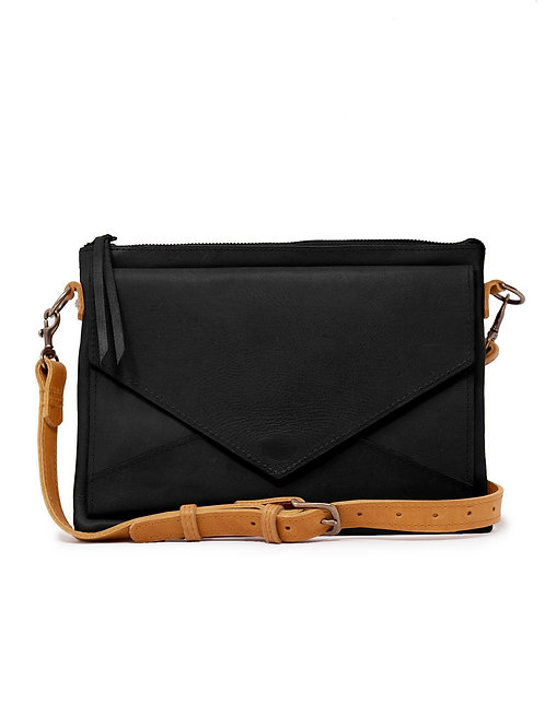 Solome Crossbody: Black/Cognac