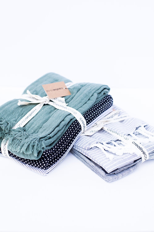 Cotton Tea Towel Set of 3- Olive Green, Black and White